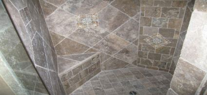 ... Shower Stall Tile Installation. . Picture